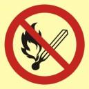 Znak Zakaz używania otwartego ognia-palenie tytoniu zabronione